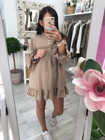 Vestido algodón beige de mujer